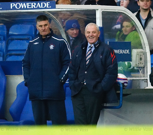 Rangers manager Walter Smith breaks out into a grin as he sees his team put Hamilton to the sword