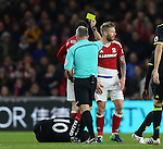Adam Clayton of Middlesbrough (r) receives a yellow card for a tackle on Eden Hazard of Chelsea during the English Premier League match at the Riverside Stadium, Middlesbrough. Picture date: November 20th, 2016. Pic Simon Bellis/Sportimage
