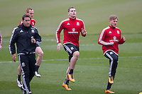 Sam Vokes and George Williams during Wales national team training ahead of the International Friendly match and Euro 2016 warm up match against Northern Ireland at Vale Resort, Hensol, Wales on 22 March 2016. Photo by Mark  Hawkins / PRiME Media Images.