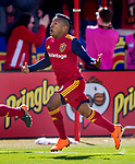 Real Salt Lake forward Joao Plata (10) celebrates his goal against Los Angeles FC in the first half Saturday, March 10, 2018, during the Major League Soccer game at Rio Tiinto Stadium in Sandy, Utah. LAFC beat RSL 5-1. (© 2018 Douglas C. Pizac)