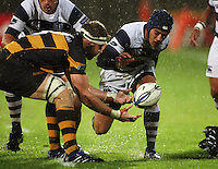 Taranaki lock Craig Clarke and Auckland captain Benson Stanley compete for the ball. Air New Zealand Cup rugby match - Taranaki v Auckland at Yarrows Stadium, New Plymouth, New Zealand. Friday 9 October 2009. Photo: Dave Lintott / lintottphoto.co.nz