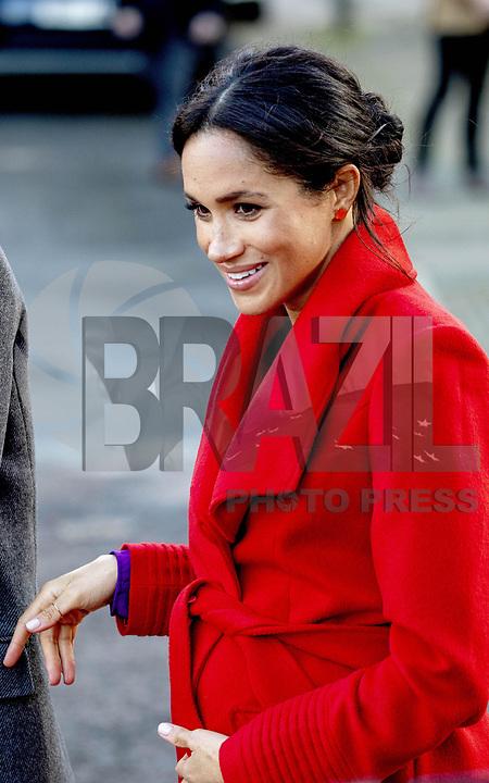 BIRKENHEAD,UK, 14.01.2019 - HARRY-MEGHAN - Sussex Meghan Markle e príncipe Harry durante a visita a praça Hamilton na cidade de Birkenhead, Merseyside, Inglaterra. (Foto: PPE/Brazil Photo Press)