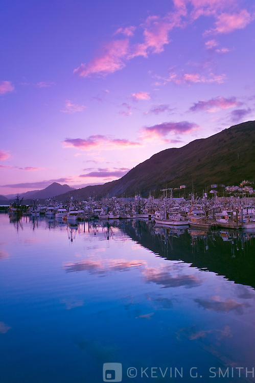 Fishing boats at sunset, St. Paul Harbor, fall, Kodiak Alaska, USA