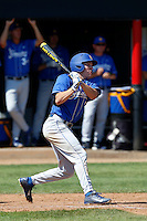 Cameron Newell #12 of the UC Santa Barbara Gauchos bats against the Cal State Northridge Matadors at Matador Field on May 11, 2013 in Northridge, California. UC Santa Barbara defeated Cal State Northridge, 6-2. (Larry Goren/Four Seam Images)