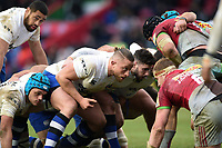 Max Lahiff of Bath Rugby prepares to scrummage against his opposite number. Aviva Premiership match, between Harlequins and Bath Rugby on March 2, 2018 at the Twickenham Stoop in London, England. Photo by: Patrick Khachfe / Onside Images