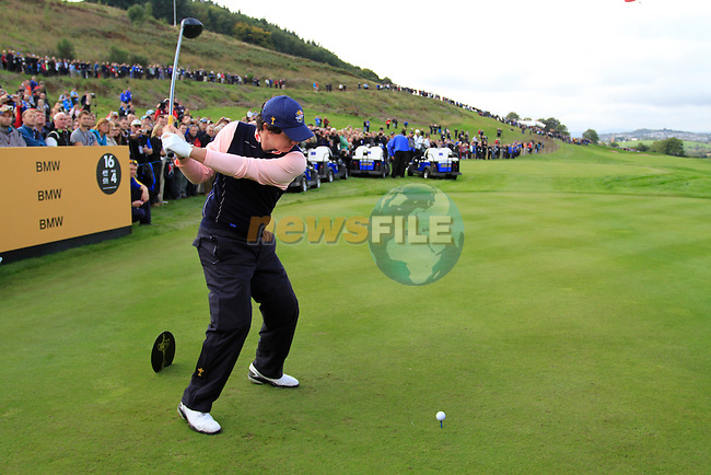 Rory McIlroy tees off on the 16th tee during Practice Day 3 of the The 2010 Ryder Cup at the Celtic Manor, Newport, Wales, 29th September 2010..(Picture Eoin Clarke/www.golffile.ie)