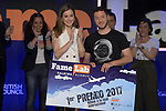 Queen Letizia of Spain with Pedro Daniel Pajares winner of the Final of the Spanish edition of 2017 of the contest of scientific monologues 'Famelab'. May 24 ,2017. (ALTERPHOTOS/Pool)