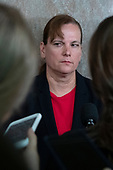 United States Army Colonel Kathryn Spletstoser who has said she was sexually assaulted by US Air Force General John E. Hyten, who is nominated to become Vice Chairman Of The Joint Chiefs Of Staff, speaks to the media following his confirmation hearing before the US Senate Armed Services Committee, on Capitol Hill in Washington D.C. on July 30, 2019. <br /> Credit: Stefani Reynolds / CNP