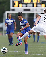 Boston Breakers forward Lianne Sanderson (10) slots a pass. In a National Women's Soccer League (NWSL) match, Boston Breakers (blue) defeated Sky Blue FC (white), 3-2, at Dilboy Stadium on June 30, 2013.