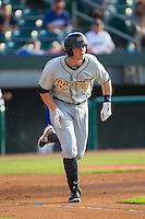 Cameron Seitzer (33) of the Montgomery Biscuits hustles down the first base line against the Chattanooga Lookouts at AT&T Field on July 24, 2014 in Chattanooga, Tennessee.  The Biscuits defeated the Lookouts 6-4. (Brian Westerholt/Four Seam Images)