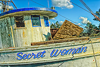 Detail of front of Secret Woman shrimp boat in Swanquarter, Hyde County, North Carolina