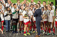 Orlando, FL - Saturday October 14, 2017: Portland Thorns FC celebrate, celebration during the NWSL Championship match between the North Carolina Courage and the Portland Thorns FC at Orlando City Stadium.