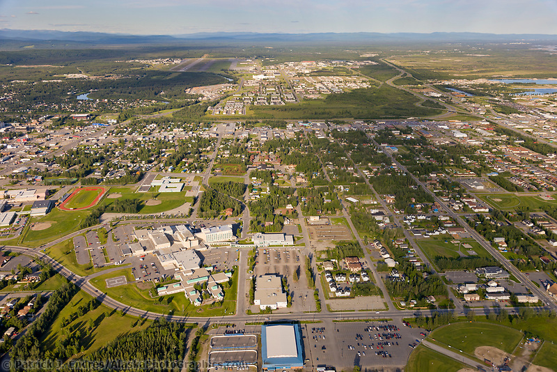 Aerial of the city of Fairbanks, with Fairbanks Memorial Hospital campus in the foreground.