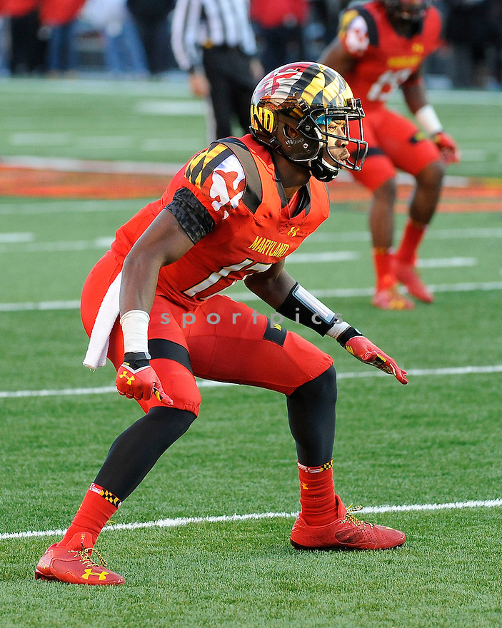 Maryland Terrapins Isaac Goins (17) during a game against the Clemson Tigers on October 26, 2013 at Byrd Stadium in College Park, MD. Clemson beat Maryland 40-20.