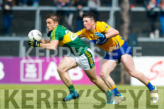Stephen O'Brien Kerry in action against Keelan Sexton Clare in the Munster Senior Football Championship Semi Final in Ennis on Sunday.