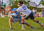 29 May 2015: South Burlington High School plays Colchester in the second round of the VYUL State Ultimate Disk Championships at Bombardier Park in Milton, Vermont. Mandatory Credit: Ed Wolfstein Photo *** RAW (NEF) Image File Available ***