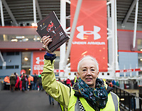 A programme seller outside of the stadium<br /> <br /> Photographer Simon King/CameraSport<br /> <br /> International Rugby Union - 2017 Under Armour Series Autumn Internationals - Wales v Australia - Saturday 11th November 2017 - Principality Stadium - Cardiff<br /> <br /> World Copyright &copy; 2017 CameraSport. All rights reserved. 43 Linden Ave. Countesthorpe. Leicester. England. LE8 5PG - Tel: +44 (0) 116 277 4147 - admin@camerasport.com - www.camerasport.com