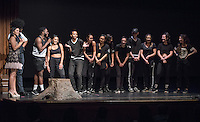 Apollo Night hosts Nina Reynoso '16 and Chance Ward '18 introduce The Dance Collective. Occidental College students perform and compete during Apollo Night, one of Oxy's biggest talent showcases, on Friday, Feb. 26, 2016 in Thorne Hall. Sponsored by ASOC, hosted by the Black Student Alliance as part of Black History Month.<br /> (Photo by Marc Campos, Occidental College Photographer)