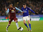 Ezri Konsa of Aston Villa tackled by Jamie Vardy of Leicester City during the Carabao Cup match at the King Power Stadium, Leicester. Picture date: 8th January 2020. Picture credit should read: Darren Staples/Sportimage