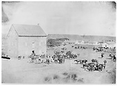 General view of gathering at mill of Indians and horses for issue of government rations.<br /> Cimarron, NM  ca 1860