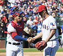 (L-R) Robinson Chirinos, Yu Darvish (Rangers),<br /> APRIL 23, 2017 - MLB :<br /> Texas Rangers starting pitcher Yu Darvish shakes hands with catcher Robinson Chirinos after the top of the eighth inning during the Major League Baseball game against the Kansas City Royals at Globe Life Park in Arlington in Arlington, Texas, United States. (Photo by AFLO)