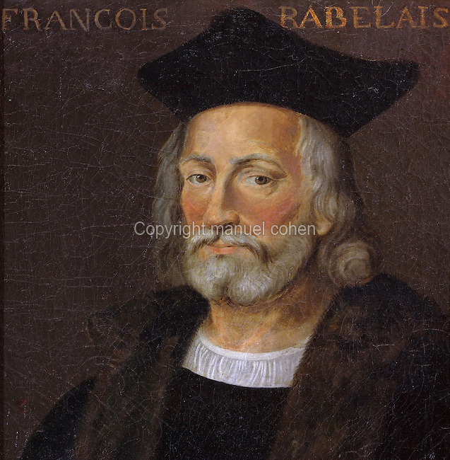 Portrait of Francois Rabelais, 1494-1553, French Renaissance writer, physician, humanist and monk, in the Galerie des Illustres or Gallery of Portraits, early 17th century, in the Chateau de Beauregard, a Renaissance chateau in the Loire Valley, built c. 1545 under Jean du Thiers and further developed after 1617 by Paul Ardier, Comptroller of Wars and Treasurer, in Cellettes, Loir-et-Cher, Centre, France. The Gallery of Portraits is a 26m long room with lapis lazuli ceiling, Delftware tiled floor and decorated with 327 portraits of important European figures living 1328-1643, in the times of Henri III, Henri IV and Louis XIII. The chateau is listed as a historic monument. Picture by Manuel Cohen