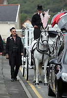 COPY BY TOM BEDFORD<br /> Pictured: Paul Black pets the horses of the carriage outside the family home in Merthyr Tydfil, Wales, UK. Friday 18 August 2017<br /> Re: The funeral of a toddler who died after a parked Range Rover's brakes failed and it hit a garden wall which fell on top of her will be held today at Jerusalem Baptist Chapel in Merthyr Tydfil.<br /> One year old Pearl Melody Black and her eight-month-old brother were taken to hospital after the incident in south Wales.<br /> Pearl's family, father Paul who is The Voice contestant and mum Gemma have said she was &quot;as bright as the stars&quot;.