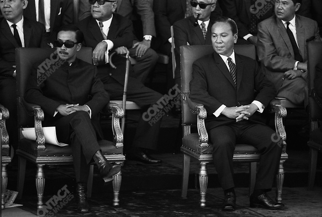President of South Vietnam Nguyen Van Thieu (right) and Vice President  Nguyen Cao Ky (left) during a military parade in Saigon. South Vietnam, May 1971