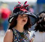 ELMONT, NY - JUNE 09: A woman wears a fancy hat on Belmont Stakes Day at Belmont Park on June 9, 2018 in Elmont, New York. (Photo by Eric Patterson/Eclipse Sportswire/Getty Images)