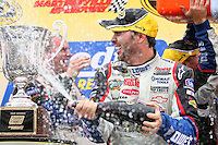 Jimmie Johnson celebrates after winning the Goody's Fast Pain Relief 500, Martinsville Speedway, Martinsville, VA, March 29, 2009.  (Photo by Brian Cleary/www.bcpix.com)
