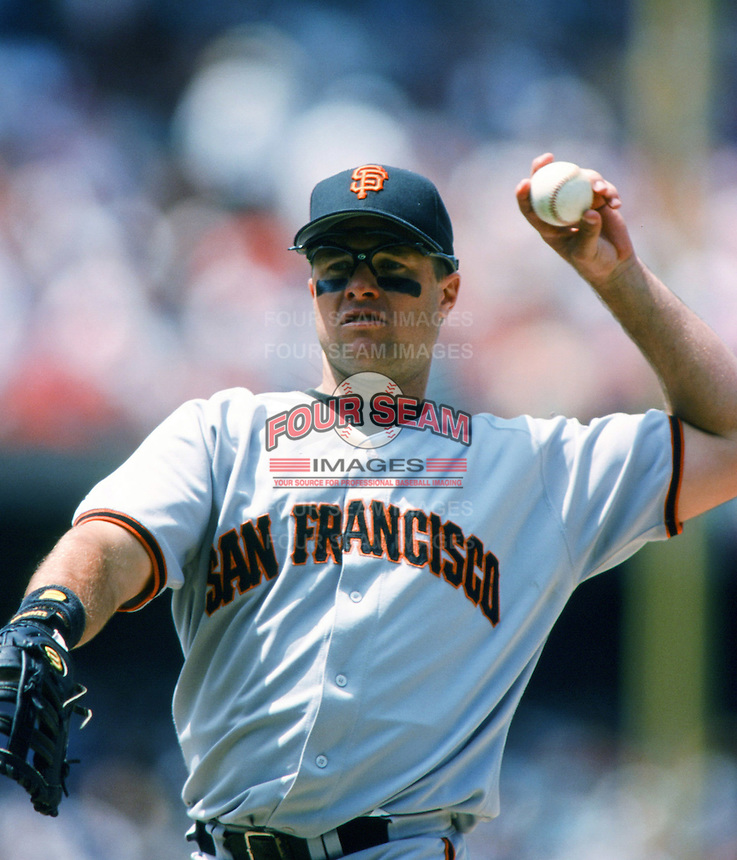 J.T. Snow of the San Francisco Giants during a 1999 Major League Baseball season game against the Los Angeles Dodgers at Dodger Stadium in Los Angeles, California. (Larry Goren/Four Seam Images)