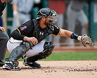 Tony Sanchez (27) of the Salt Lake Bees on defense against the El Paso Chihuahuas in Pacific Coast League action at Smith's Ballpark on April 30, 2017 in Salt Lake City, Utah. El Paso defeated Salt Lake 12-3. This was Game 2 of a double-header originally scheduled on April 28, 2017. (Stephen Smith/Four Seam Images)