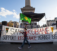 London, 01/11/2014. Today, London's Kurdish people held a demonstration in Trafalgar Square in support and solidarity with the Syrian city of Kobane, where the Kurdish resistance is strenuously confronting the troops of ISIS. ...<br />