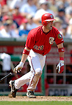 17 June 2006: Brian Schneider (left), catcher for the Washington Nationals, hits a 2-RBI single against the New York Yankees at RFK Stadium, in Washington, DC. The Nationals overcame a seven run deficit to win 11-9 in the second game of the interleague series...Mandatory Photo Credit: Ed Wolfstein Photo...