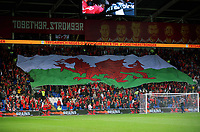 A giant Wales flag is held by supporters during the FIFA World Cup Qualifier Group D match between Wales and Republic of Ireland at The Cardiff City Stadium, Wales, UK. Monday 09 October 2017