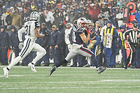 FOXBOROUGH, MA - NOVEMBER 24: New England Patriots Wide Receiver Julian Edelman #11 turns to run after catching a pass during a game between Dallas Cowboys and New England Patriots at Gillettes on November 24, 2019 in Foxborough, Massachusetts.
