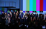 "Tatiana Maslany, Bryan Cranston and Tony Goldwyn with the cast during the Broadway Opening Night Performance Curtain Call for ""Network"" at the Belasco Theatre on December 6, 2018 in New York City."