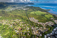 An aerial view of He'eia and Kane'ohe Bay, Windward O'ahu.