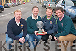 Milltown/Castlemaine Golf Society presenting the Golfer of the Year perpetual trophy to Paul Twiss. .L-R Sean Counihan (2012 Captain), Paul Twiss, Alan O'Connor (owner of Alma's take-away and sponsor of the club) and Vincent Prendergast (2013 captain).
