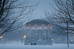 Christmas snow at the Parkman Bandstand on Boston Common, Boston, MA