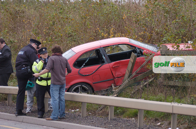 30th November, 2006. The driver of a BMW Compact mounted the crash barrier and embankment on the Drogheda/Donore/M1 link road...Photo: BARRY CRONIN/Newsfile.