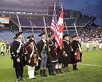 14 April 2007: New England Minutemen in full uniform presented the colors during pregame ceremonies. The New England Revolution defeated Toronto FC 4-0 at Gillette Stadium in Foxboro, Massachusetts in an MLS Regular Season game.