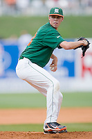 Relief pitcher Sam Robinson #13 of the Miami Hurricanes in action against the Virginia Cavaliers at the 2010 ACC Baseball Tournament at NewBridge Bank Park May 29, 2010, in Greensboro, North Carolina.  The Cavaliers defeated the Hurricanes 12-8.  Photo by Brian Westerholt / Four Seam Images