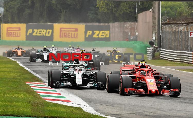 02.09.2018, Autodromo di Monza, Monza, FORMULA 1 GRAN PREMIO HEINEKEN D'ITALIA 2018<br />,im Bild<br />Rennstart:<br />Kimi Raikkonen (FIN#7), Scuderia Ferrari, Sebastian Vettel (GER#5), Scuderia Ferrari, Lewis Hamilton (GB#44), Mercedes AMG Petronas Formula One Team, Max Verstappen (NEL#33), Aston Martin Red Bull Racing<br /> <br /> Foto © nordphoto / Bratic