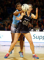 16.07.2015 Silver Ferns Bailey Mes and Fiji's Matila Waqanidrola in action during the Silver Fern v Fiji netball test match played at Te Rauparaha Arena in Porirua. Mandatory Photo Credit ©Michael Bradley.