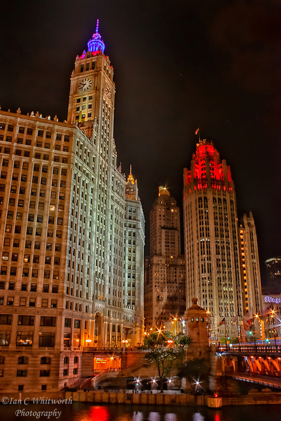 Night view of both the Wrigley Building and Tribune Tower