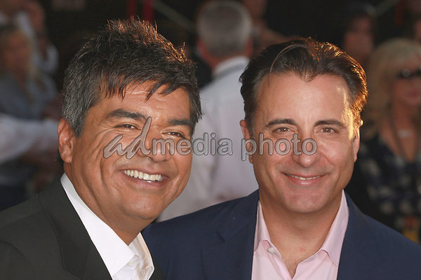 """18 September 2008 - Hollywood, California - George Lopez and Andy Garcia. """"Beverly Hills Chihuahua"""" Los Angeles Premiere held at the El Capitan Theatre. Photo Credit: Charls Harris/AdMedia"""