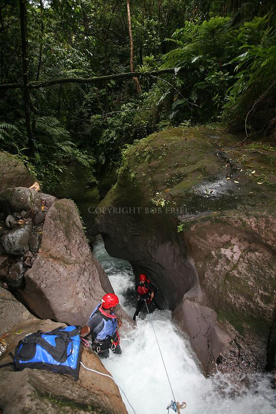 Canyoning (aka Canyoneering) down a waterfall on Dominica