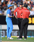8th February 2019, Eden Park, Auckland, New Zealand;  Rohit Sharma discuss the wicket of Mitchell with the umpires. New Zealand v India in the Twenty20 International cricket, 2nd T20.