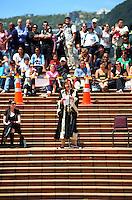 Wellington mayor Celia Wade-Brown addresses the crowd. 2011 Wellington IRB sevens parade in the Wellington CBD, Wellington, New Zealand on Thursday, 3 February 2011. Photo: Dave Lintott / lintottphoto.co.nz